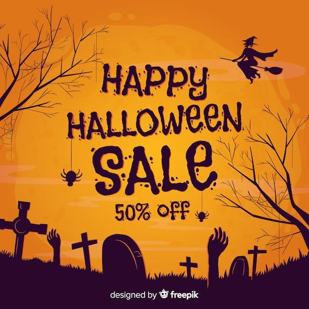 Hand getekend halloween verkoop Gratis Vector