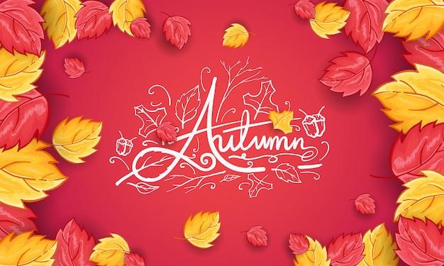 Hand getekend happy autumn begroeting achtergrond Gratis Vector