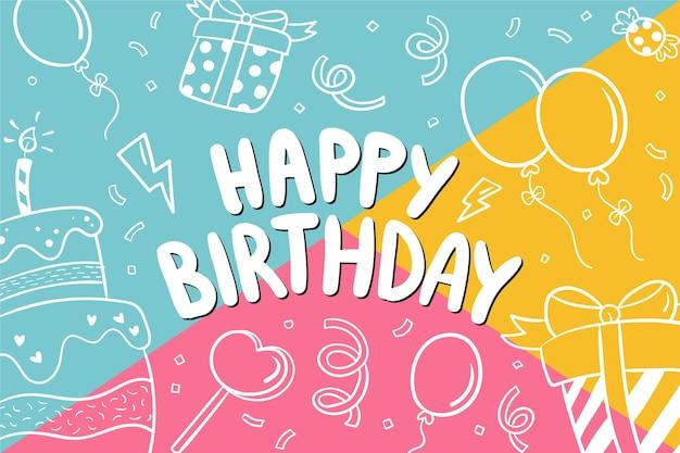 Hand getekend happy birthday achtergrond Gratis Vector