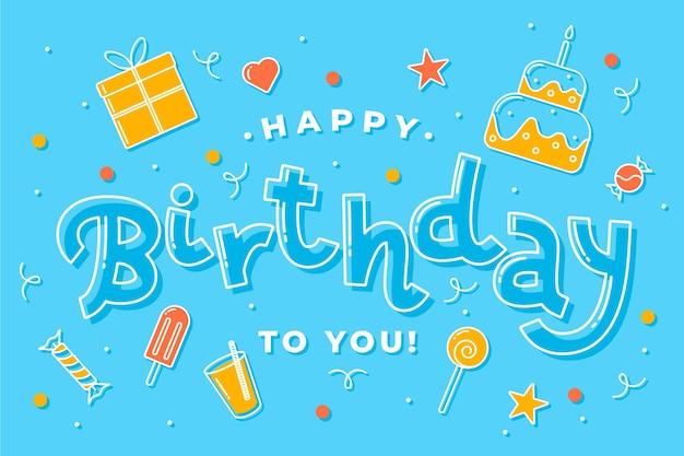 Hand getekend happy birthday achtergrond Premium Vector