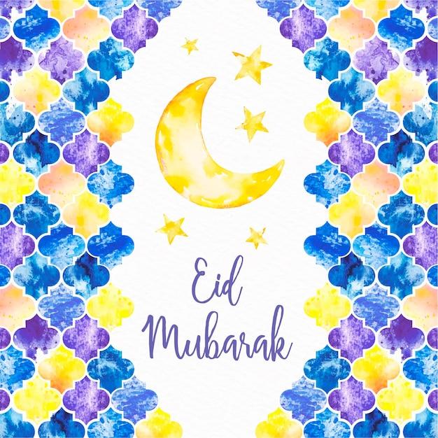 Hand getekend happy eid mubarak maan en sterren Gratis Vector