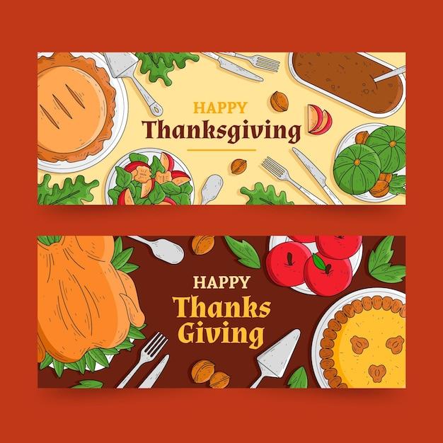 Hand getekend happy thanksgiving banners Gratis Vector