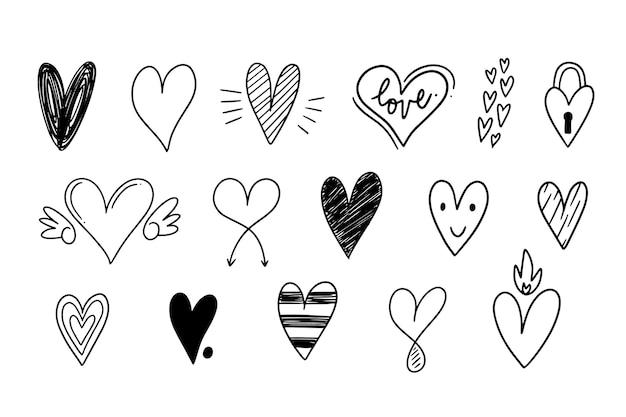 Hand getekend hart collectie Premium Vector