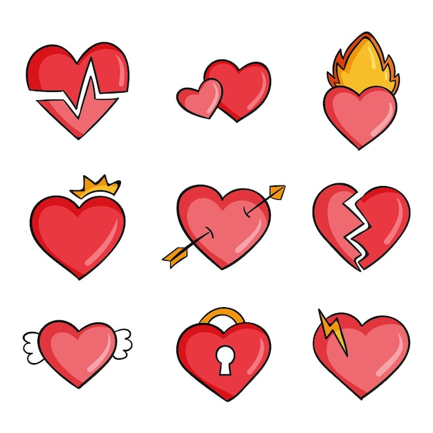 Hand getekend hart collectie Gratis Vector
