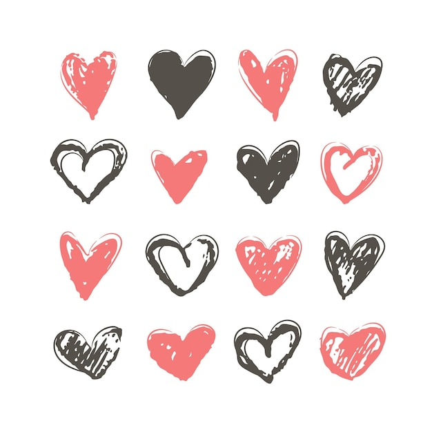 Hand getekend hart illustratie collectie Gratis Vector
