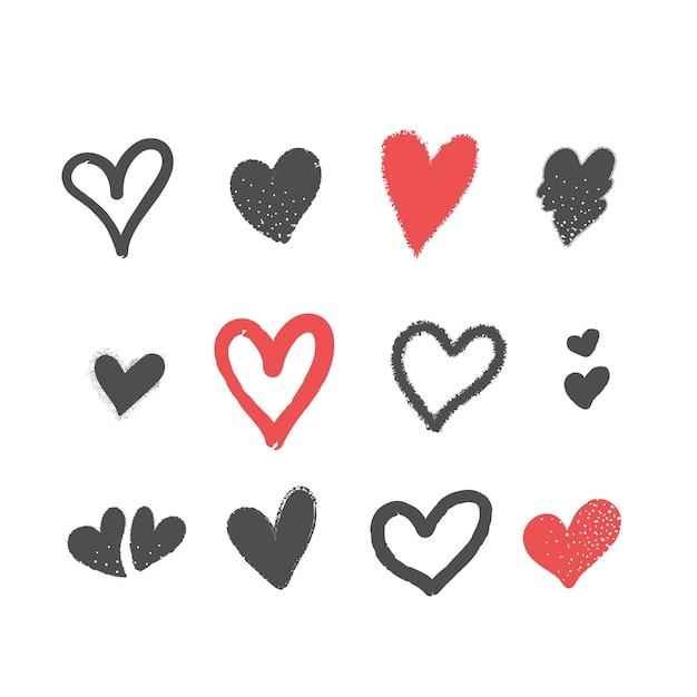 Hand getekend hart illustratie pack Gratis Vector