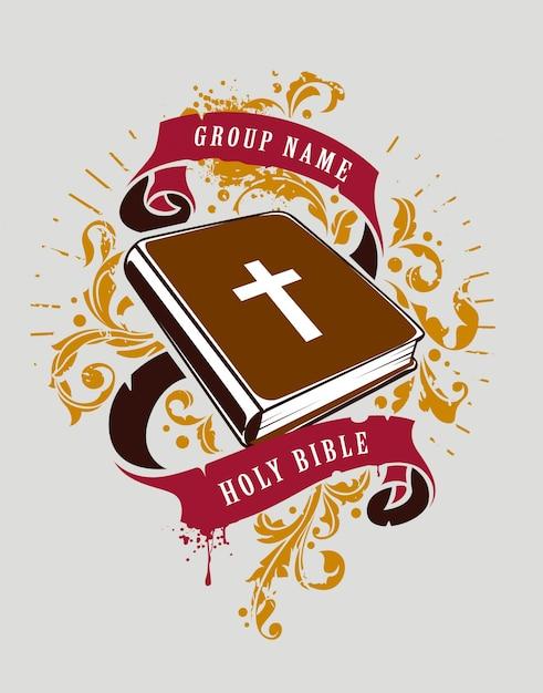 Hand getekend heilige bijbel met linten Gratis Vector