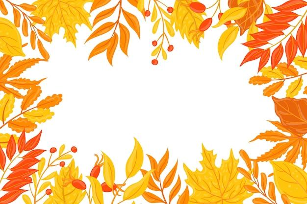 Hand getekend herfst behang met witte ruimte Gratis Vector