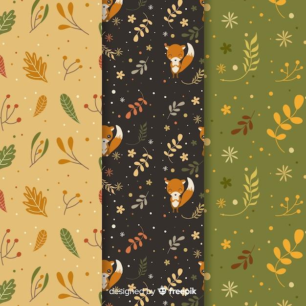 Hand getekend herfst patroon collectie Gratis Vector