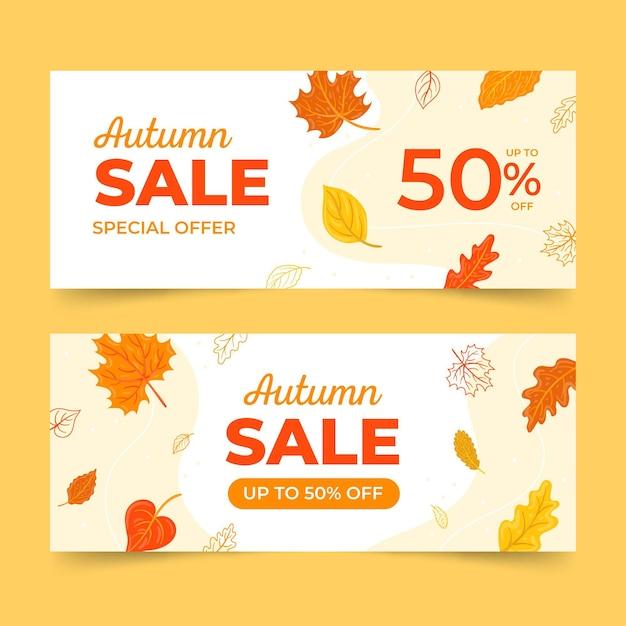 Hand getekend herfst verkoop banners Gratis Vector