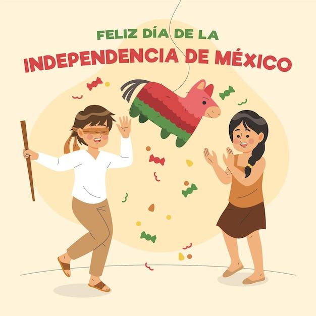 Hand getekend independencia de méxico achtergrond Gratis Vector