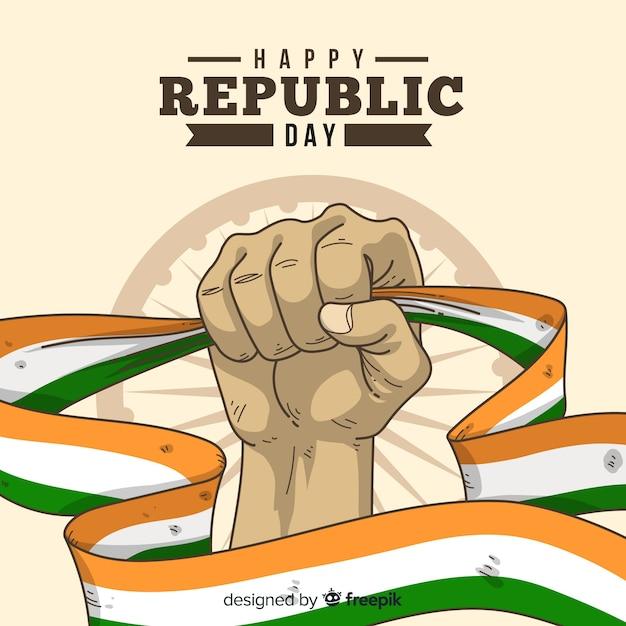 Hand getekend indiase republiek dag achtergrond Gratis Vector
