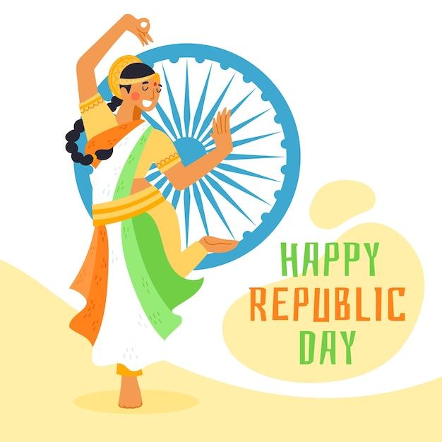 Hand getekend indiase republiek dag met vrouw dansen Gratis Vector