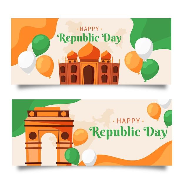 Hand getekend indiase republiek dag sjabloon voor spandoek Gratis Vector
