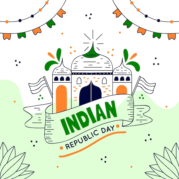Hand getekend indiase republiek dag Gratis Vector