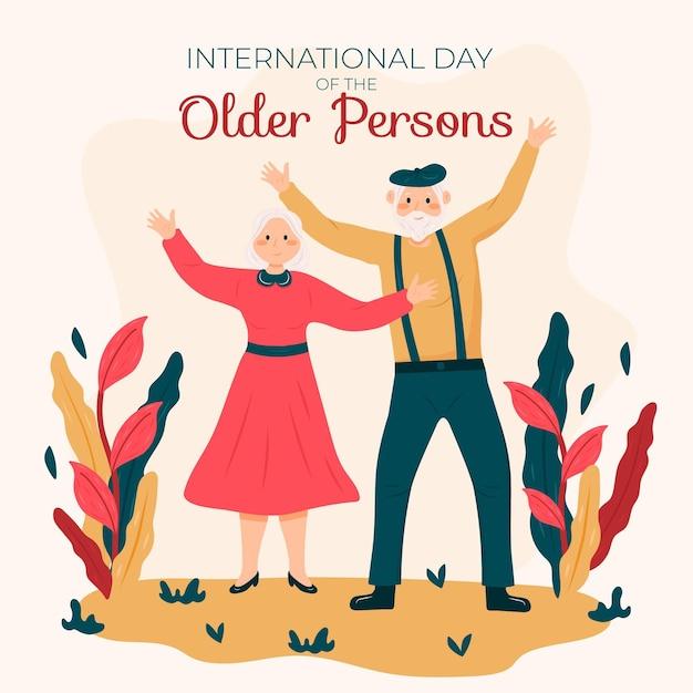 Hand getekend internationale dag van de achtergrond van de ouderen met grootouders Gratis Vector