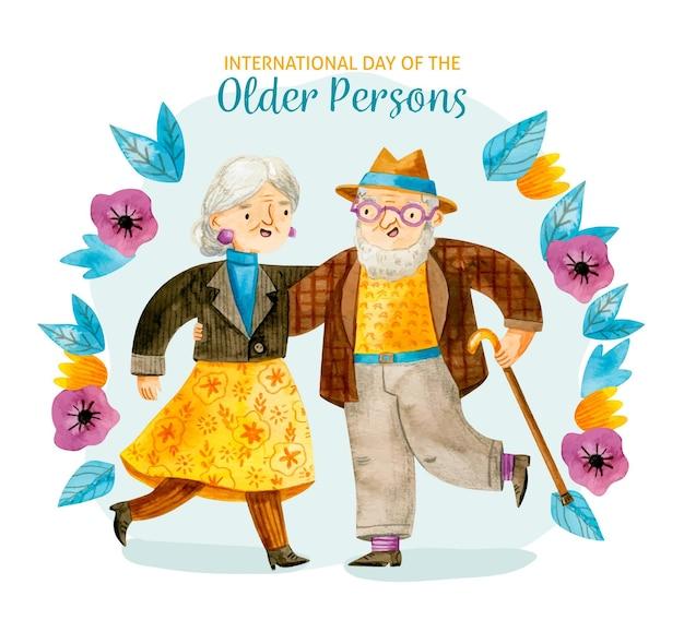 Hand getekend internationale dag van de ouderen Gratis Vector