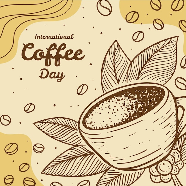 Hand getekend internationale dag van koffie illustratie Gratis Vector