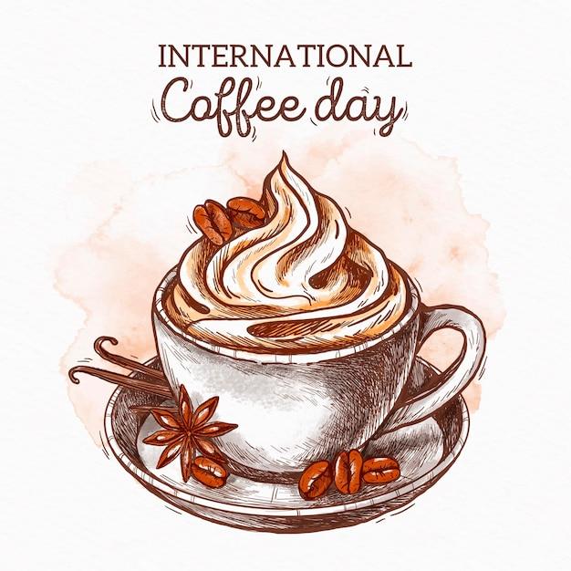 Hand getekend internationale dag van koffie Gratis Vector