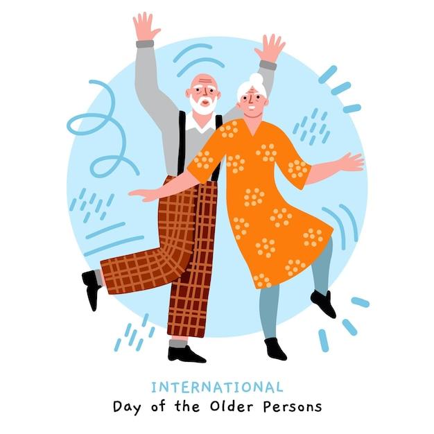 Hand getekend internationale dag van ouderen geïllustreerd Gratis Vector