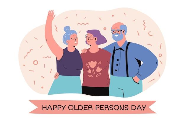 Hand getekend internationale dag van ouderen Gratis Vector