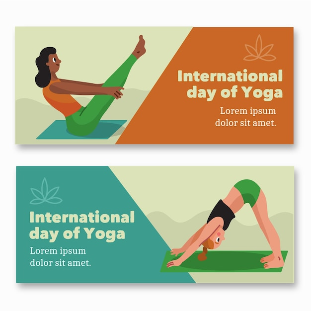 Hand getekend internationale dag van yoga banner Gratis Vector