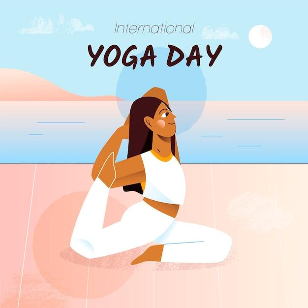 Hand getekend internationale dag van yoga Gratis Vector