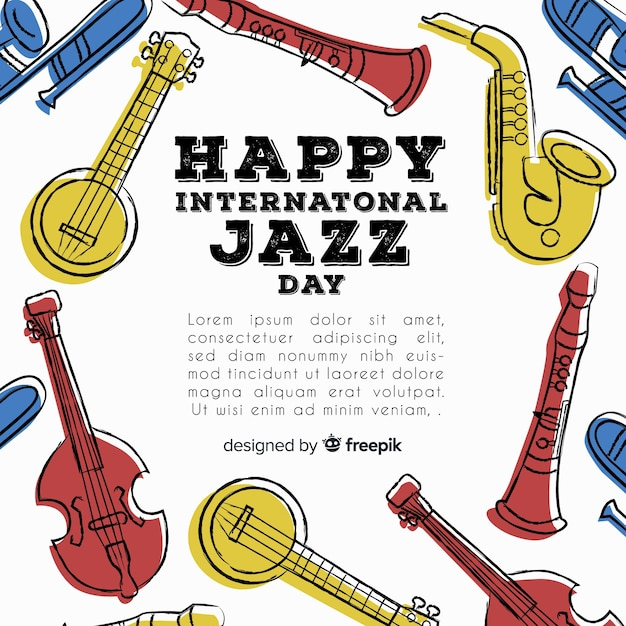 Hand getekend internationale jazz dag achtergrond Gratis Vector