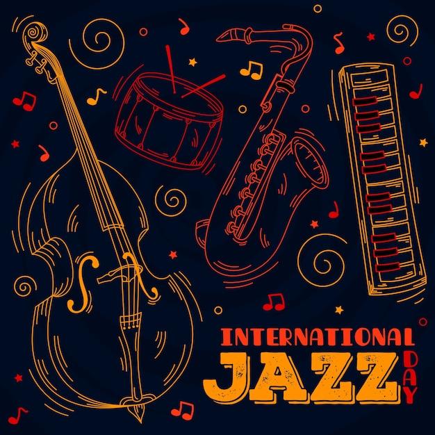 Hand getekend internationale jazz dag concept Gratis Vector