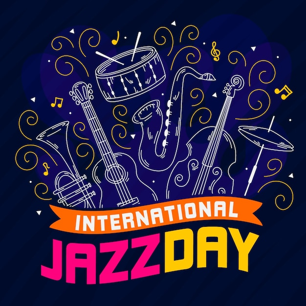 Hand getekend internationale jazz dag concept Gratis Vector