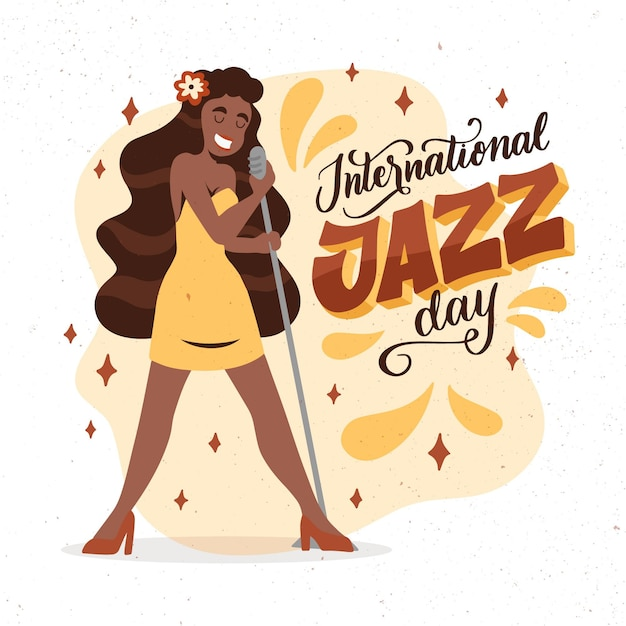Hand getekend internationale jazz dag illustratie Gratis Vector
