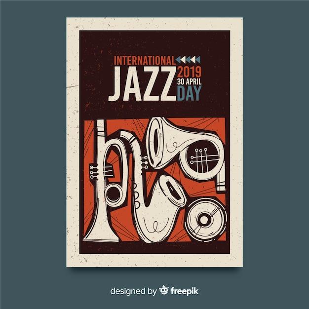 Hand getekend internationale jazz dag poster sjabloon Gratis Vector
