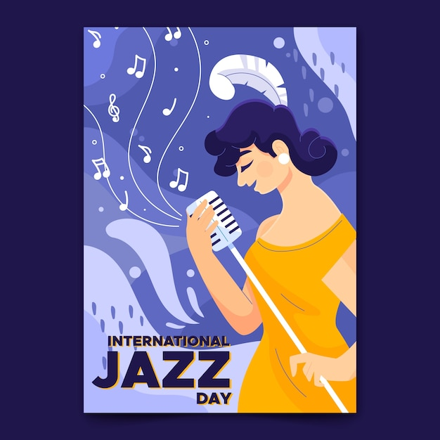 Hand getekend internationale jazz dag poster sjabloon Gratis Vector
