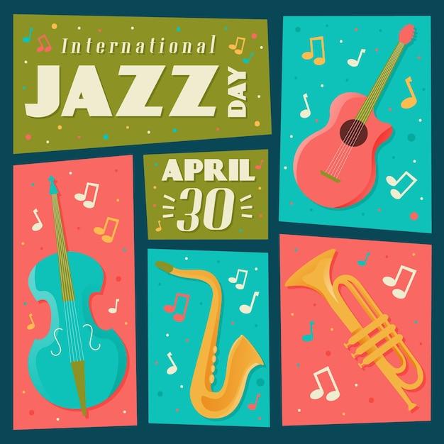 Hand getekend internationale jazzdag concept Gratis Vector