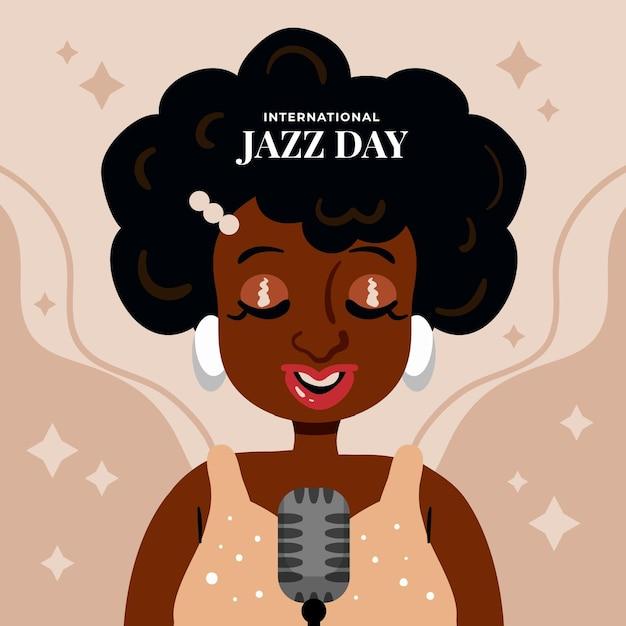 Hand getekend internationale jazzdag illustratie met zingende vrouw Gratis Vector