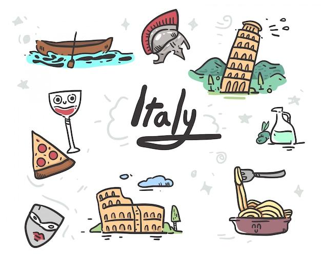 Hand getekend italië pictogrammen Premium Vector