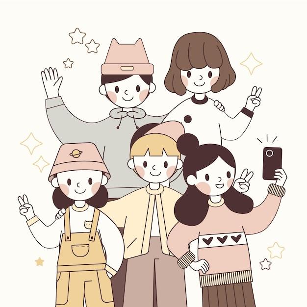 Hand getekend jonge japanse karakters Gratis Vector