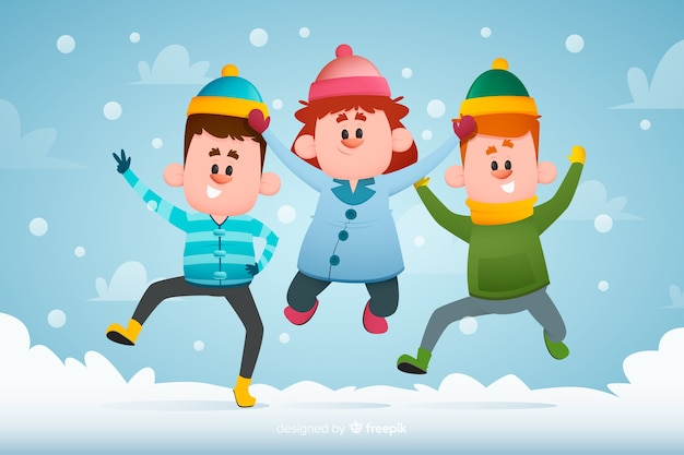 Hand getekend jongeren dragen winterkleren springen Gratis Vector