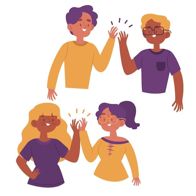 Hand getekend jongeren geven high five collectie Gratis Vector