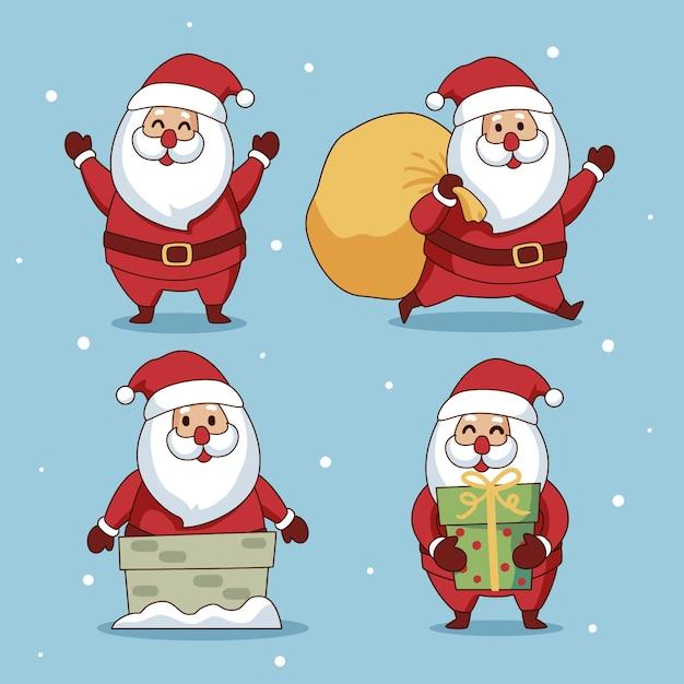 Hand getekend karakterverzameling van de kerstman Gratis Vector
