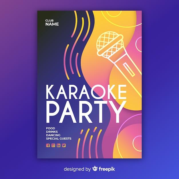 Hand getekend karaoke nacht poster sjabloon Gratis Vector