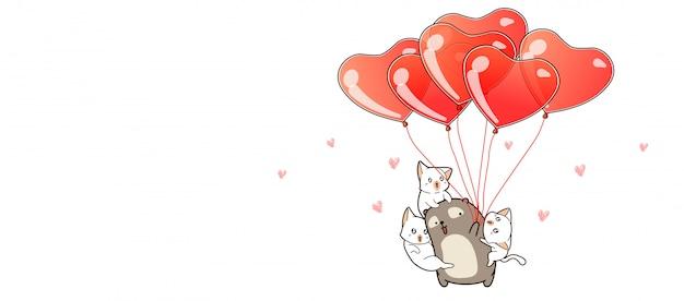 Hand getekend kawaii beer en katten met hart ballonnen Premium Vector