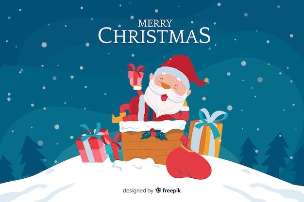 Hand getekend kerst achtergrond met de kerstman Gratis Vector