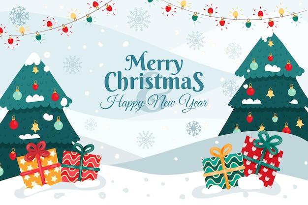Hand getekend kerst achtergrond Premium Vector
