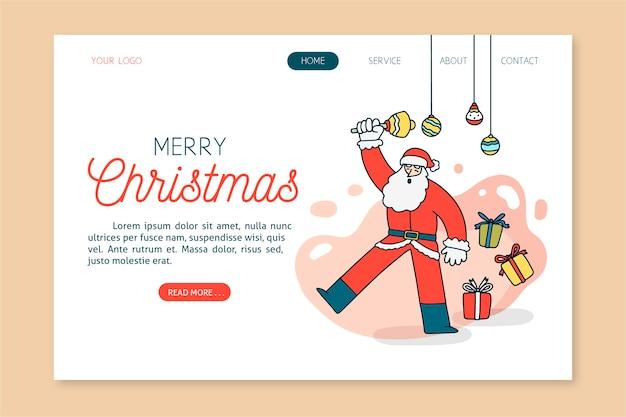 Hand getekend kerst bestemmingspagina sjabloon Gratis Vector