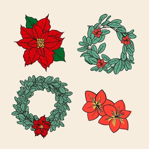 Hand getekend kerst bloem & krans collectie Gratis Vector