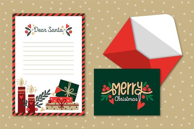 Hand getekend kerst briefpapier sjabloon Gratis Vector