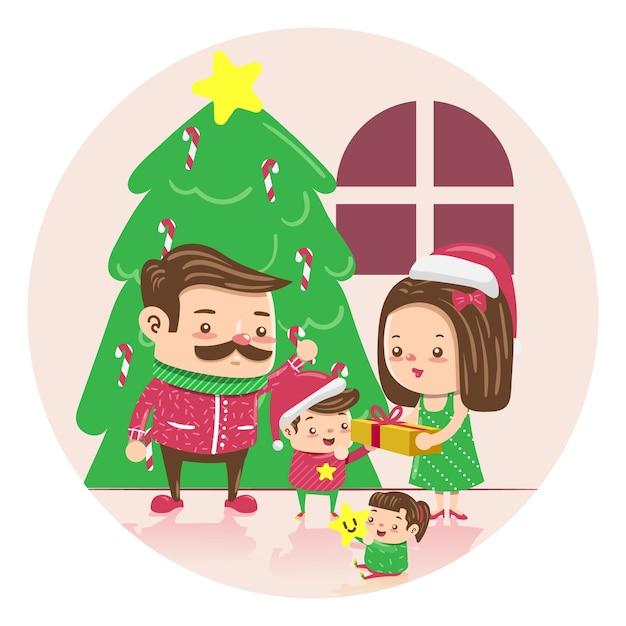 Hand getekend kerst familie scène concept Gratis Vector