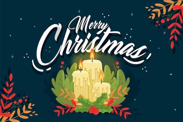 Hand getekend kerst kaars achtergrond Gratis Vector
