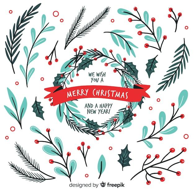 Hand getekend kerst krans collectie Gratis Vector